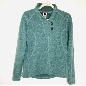 North Face Sweater Pullover Toggle Buttons Green
